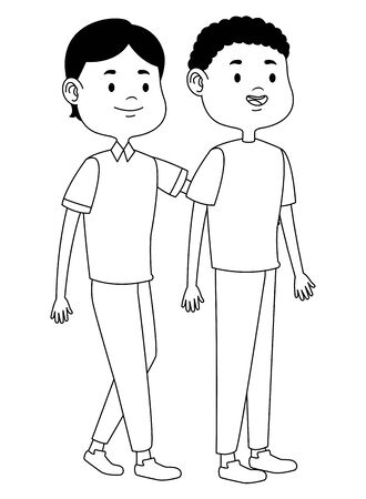 Teenagers male two friends greeting and smiling with casual clothes cartoons ,vector illustration graphic design. Stock Vector - 133108382