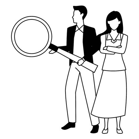 Two business partners working, executive entrepreneur teamwork ,vector illustration graphic design. Stock Vector - 133108405