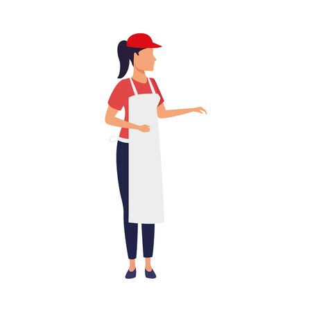 avatar woman with apron and cap over white background, vector illustration Ilustração