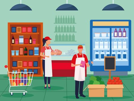 grocery stores with people characters vector illustration design 向量圖像