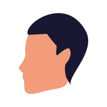 profile of avatar man head icon over white background, vector illustration
