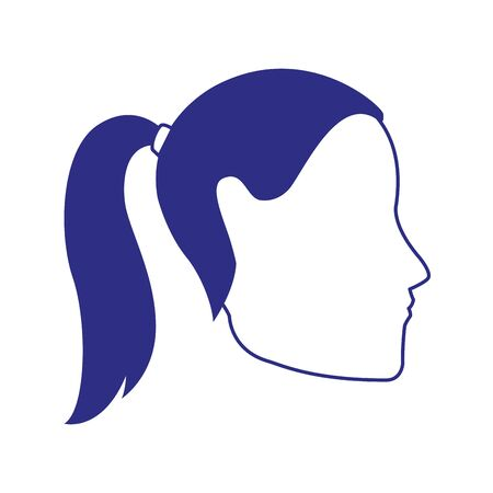 avatar woman with hair tail icon icon over white background, vector illustration