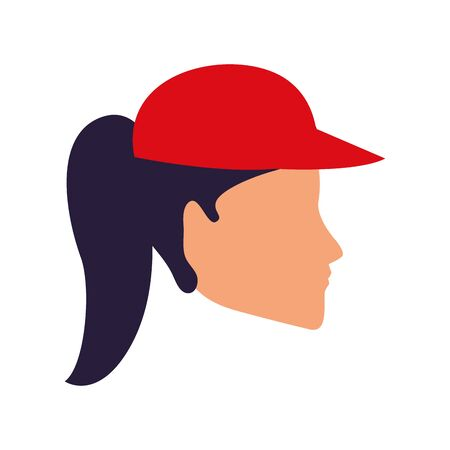 profile of avatar woman face wearing a cap icon over white background, vector illustration Ilustracja