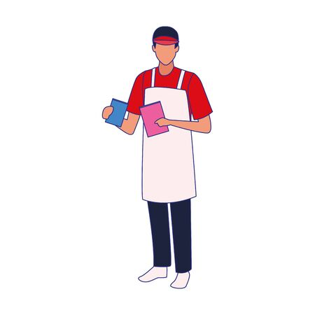 avatar man with apron and cap over white background, vector illustration