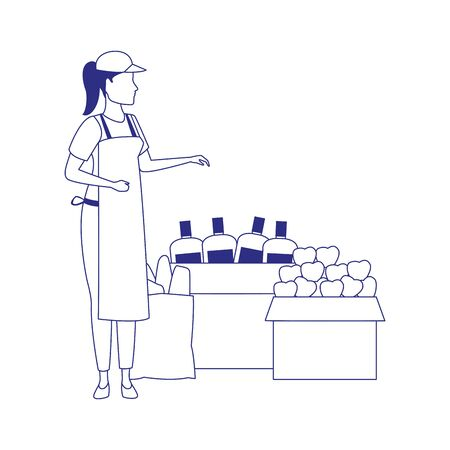 supermarket woman worker next to boxes with groceries over white background, vector illustration