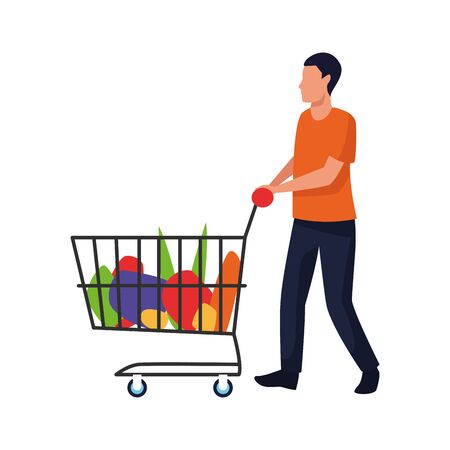 avatar man with supermarket cart with groceries over white background, vector illustration Ilustracja