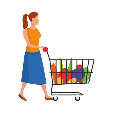 avatar woman with supermarket cart with groceries over white background, vector illustration Ilustracja