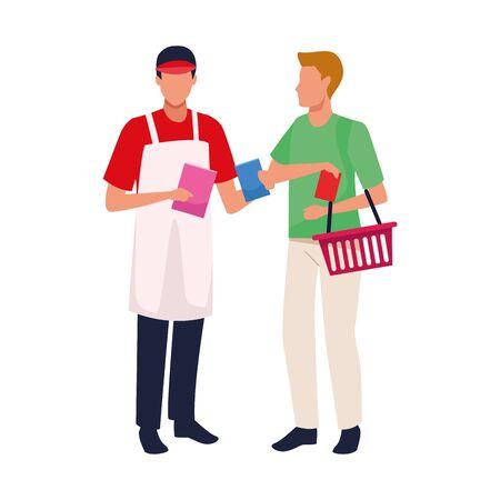 supermarket worker and customer with basket over white background, vector illustration