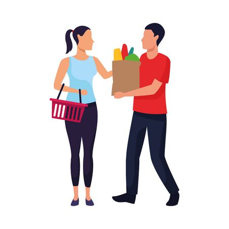 avatar man and woman with supermarket basket and bag icon over white background, colorful design. vector illustration