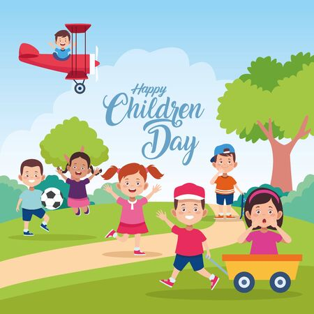 happy children day celebration with kids playing in the field vector illustration design