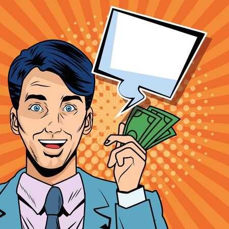 businessman with bills dollars and speech bubble pop art style vector illustration