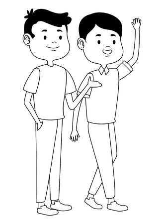 Teenagers male friends greeting and smiling with casual clothes cartoons ,vector illustration graphic design. Illustration