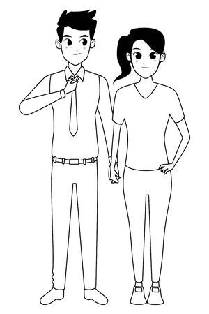 Young executive man and woman couple smiling and greeting cartoon vector illustration graphic design Stock Vector - 133108172