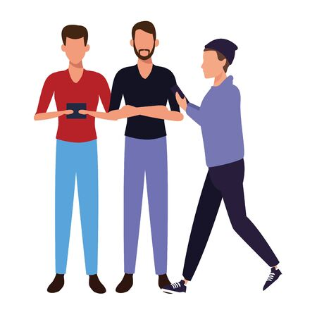 casual people men with technology device cartoon vector illustration graphic design  イラスト・ベクター素材