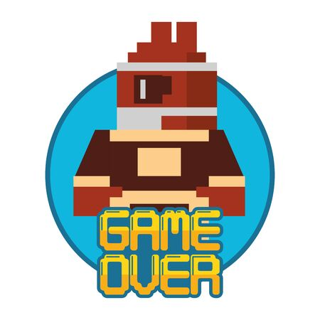 video game pixelated warrior with game over message vector illustration design 向量圖像