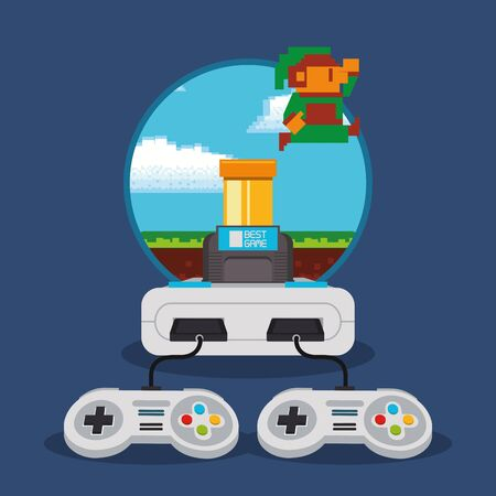 video game pixelated console and controls vector illustration design
