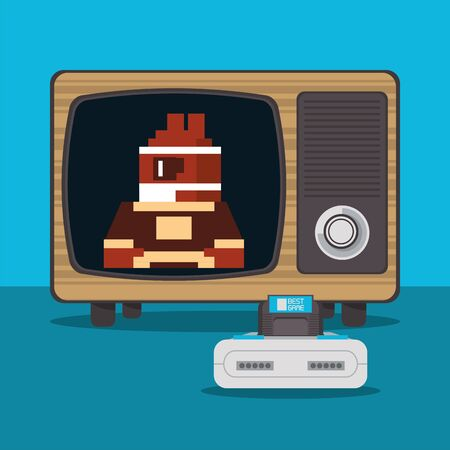 video game pixelated console and old tv vector illustration design