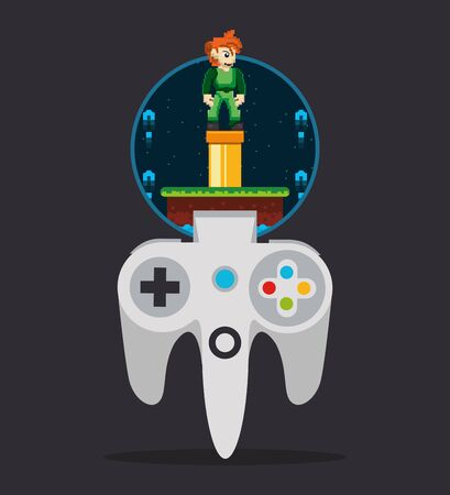 video game pixelated control and warrior vector illustration design 向量圖像