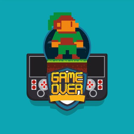 video game pixelated handle console with warrior jump vector illustration design
