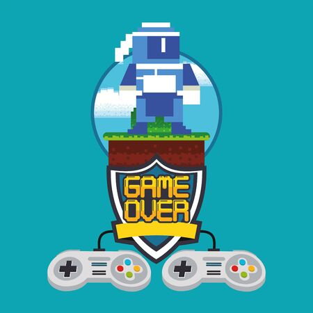 video game pixelated controls icons vector illustration design 向量圖像
