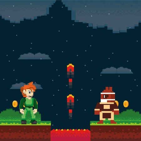 video game warriors in pixelated scene vector illustration design