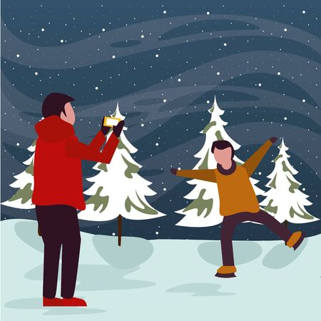 christmas snowscape scene with kids taking photo vector illustration design Vektorgrafik