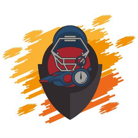 american football sport helmet and chronometer vector illustration design Ilustracja