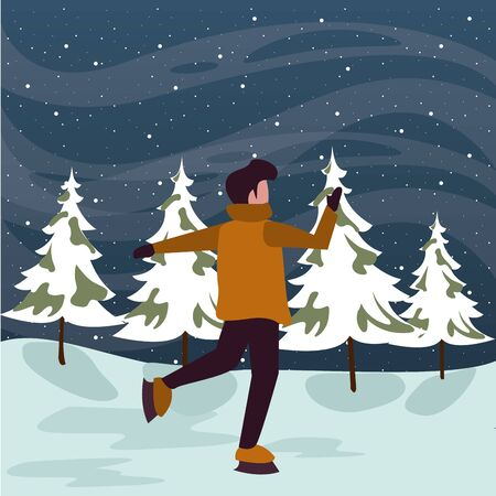 christmas snowscape scene with young boy skating vector illustration design