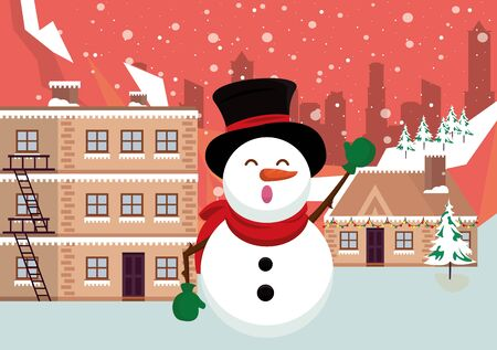christmas snowscape scene with snowman vector illustration design