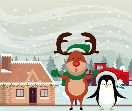 christmas snowscape scene with reindeer and penguin vector illustration design