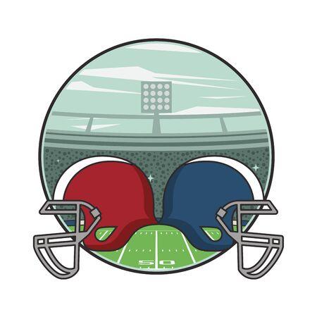 american football sport helmets icons vector illustration design