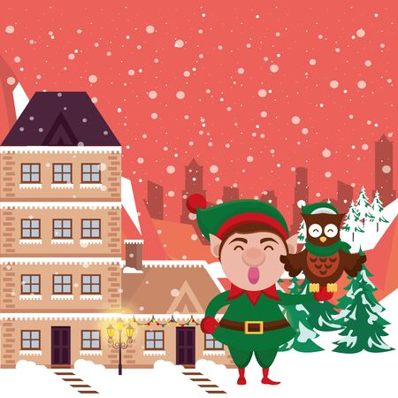 christmas snowscape scene with elf and owl vector illustration design Stock Illustratie