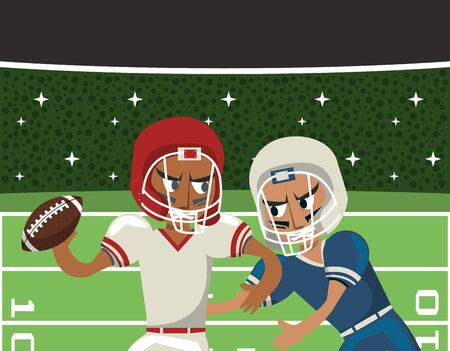 american football players playing characters vector illustration design Ilustracja