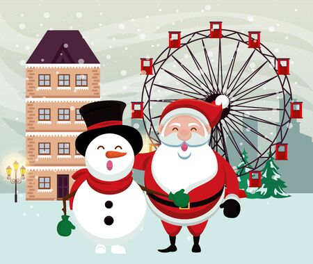 christmas snowscape scene with snowman and santa claus vector illustration design