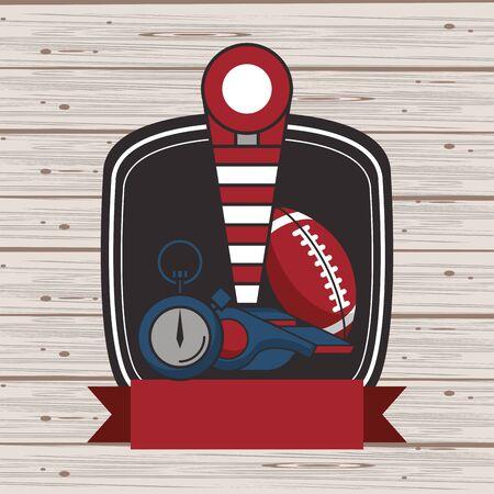 american football sport balloon and chronometer vector illustration design