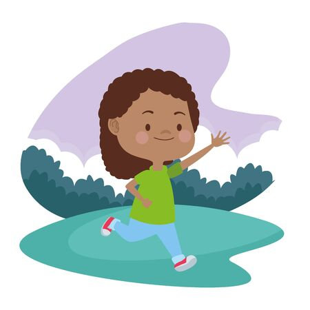 Beautiful girl running, smiling and having fun at nature outdoors ,vector illustration graphic design.
