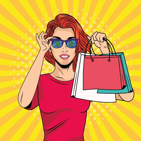 young girl with shopping bag and sunglasses pop art style vector illustration design