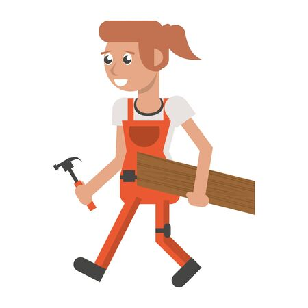 Construction worker smiling with wooden plank and hammer cartoon isolated vector illustration graphic design