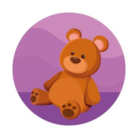 teddy bear toy icon cartoon in round icon