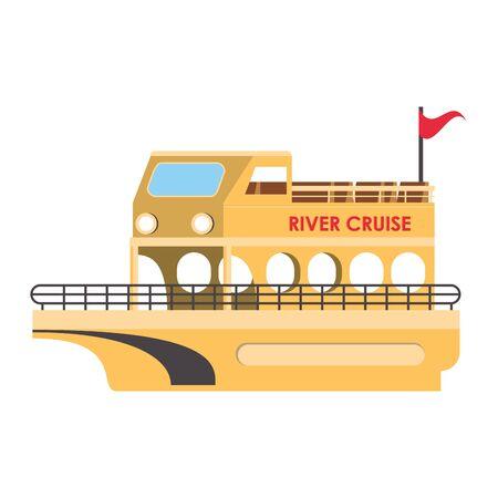 River cruise boat isolated symbol vector illustration Illusztráció