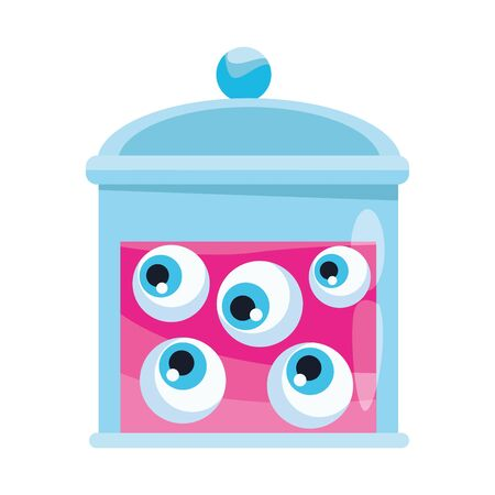 halloween bottle with eyes icon vector illustration design