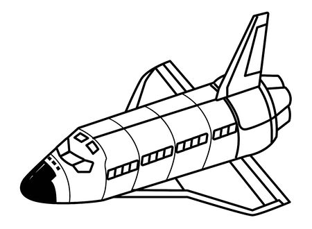 space exploration space shuttle in black and white icon cartoon vector illustration graphic design