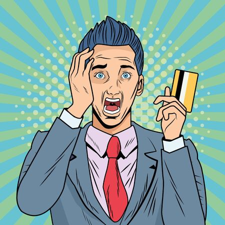businessman stressed with credit card pop art style character vector illustration design Stock Vector - 133108589
