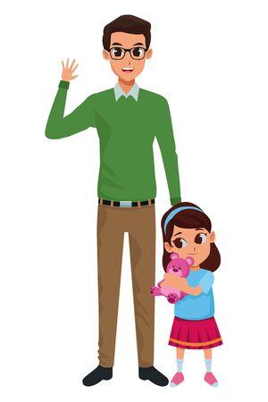 Padre soltero de familia con dibujos animados de hija pequeña Ilustración de vector