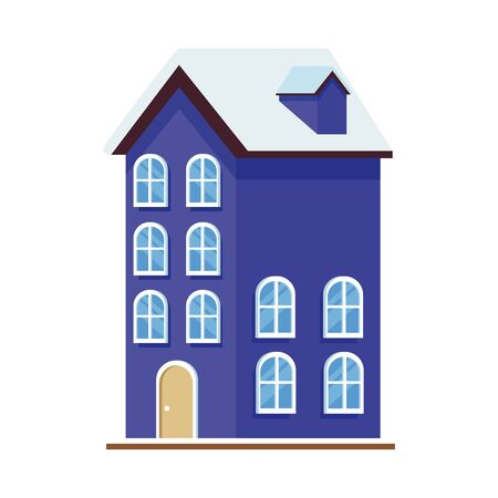 residential house icon over white background, colorful design. vector illustration
