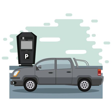 Car parked in lot with parking meter at city vector illustration graphic design Banque d'images - 133088924
