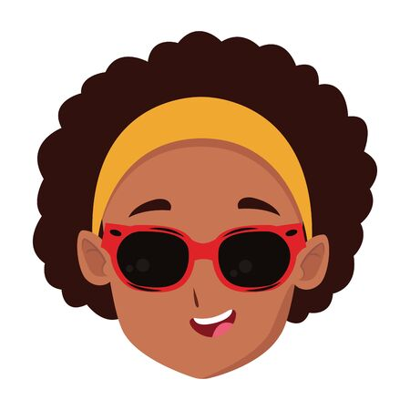 adorable cute young girl curly hair face wearing sunglasses happy childhood cartoon vector illustration graphic design