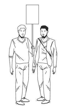 Actividad social y protesta pública joven levantando un canto en blanco joven con bolsa cruzada y barba en avatar blanco y negro