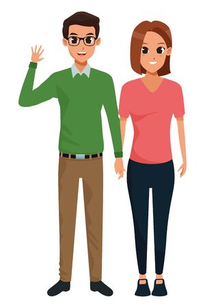 Young executive man and woman couple smiling and greeting cartoon vector illustration graphic design Stock Vector - 133108992