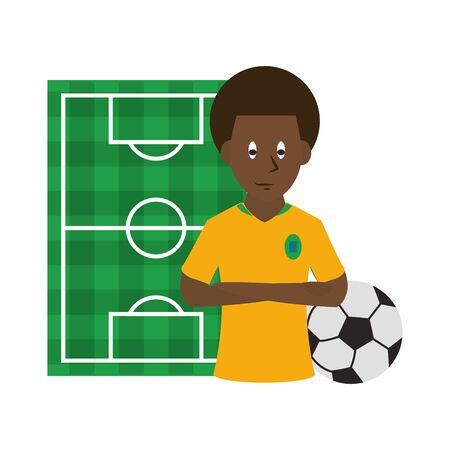 Soccer afro player with ball over playfield background vector illustration graphic design